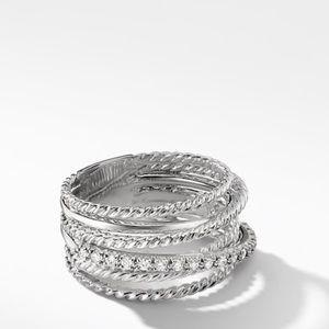 David Yurman Wide Crossover Ring with Diamonds